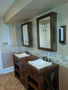 Hall Bathroom renovation including new tile floor and custom wood vanity with drop in sinks.