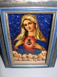 Immaculate Heart Of Mary glitter box, shrine, shadow box.