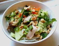 Nuts about food: Thai cold rice noodle salad with chicken, lime and peanut sauce