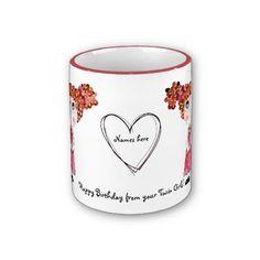 Twin Girls Happy Birthday Mug completely customizable by SimonaMereuArt $16.90