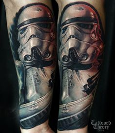 Stormtrooper, start of my star wars sleeve. By Javier Antunez at Tattooed Theory. Stormtrooper Tattoo, Boba Fett Tattoo, Star Wars Jokes, Star Wars Facts, Star Wars Tattoo, Star Wars Film, Fantasias Star Wars, Stormtroopers, Starwars