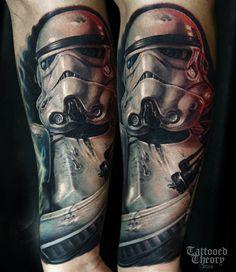 Stormtrooper, start of my star wars sleeve. By Javier Antunez at Tattooed Theory. Stormtrooper Tattoo, Boba Fett Tattoo, Star Wars Tattoo, Tatoo Star, Star Wars Jokes, Star Wars Facts, Star Wars Film, Fantasias Star Wars, Starwars