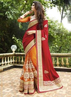 Amazing Red and Mustard Embroidery work wedding saree