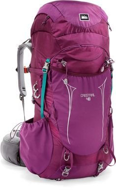 Colorful backpacking pack. REI crestrail 48 pack Women's  #pct tips for #backpacking and #hiking the pacific crest trail.