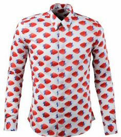 Men's Long Sleeve Flower Printed Pointed Collar Shirt | Designer ...