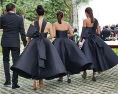Unique New Arrival Black Ankle Length Wedding Party Bridesmaid Dresses with Bow, WG445