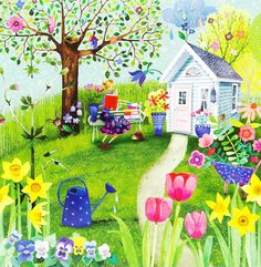 Illustration Kids Mila Marquis * Postcard * * Woman reads in the Spring Garden Card 2018 Marquis, Karla Gerard, Names Of Artists, Square Card, Spring Garden, Whimsical Art, Pretty Pictures, Art Images, Illustration Art