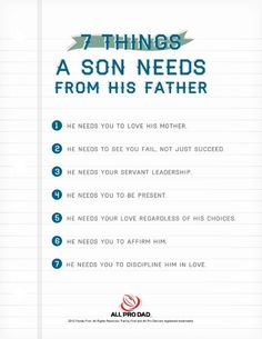 Learn the 7 things a son needs from his father!