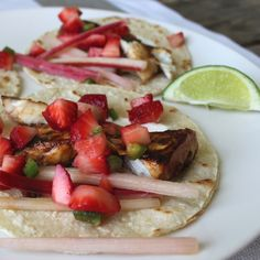 Fish Tacos with Quick Pickled Rhubarb and Strawberry Salsa