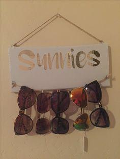 DIY sunglass holder. Perfect for my sunnies.
