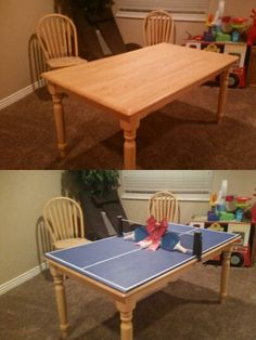 Take your old ordinary non used plain kitchen table and turn it into a ping pong table.   Awesome!