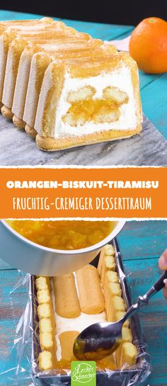 Summery Orange Biscuit Tiramisu (in German) Best Cheese, Baked Cheese, Crackers Appetizers, Dream Recipe, Winter Desserts, Drinks Alcohol Recipes, Bakery Recipes, No Bake Desserts, Cheesecake Recipes