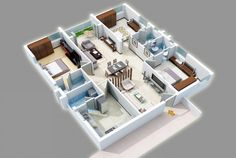 25 Three Bedroom House/Apartment Floor Plans