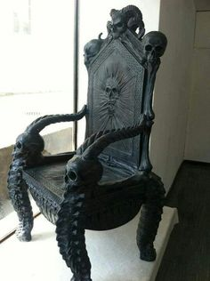 Skulls:  Gothic chair with #skulls.