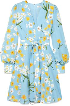 <img> Andrew Gn Belted Floral-print Silk Mini Dress – Blue Source by ShopStyle - Dress Outfits, Casual Dresses, Short Dresses, Fashion Dresses, Cute Outfits, Look Fashion, Womens Fashion, Red Carpet Gowns, Himmelblau