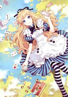 Anime alice in wonderland Fanart from Anime Paradise. Alice in wonderland Anime Chibi, Manga Anime, Art Anime, Manga Girl, Manga Eyes, Kawaii Anime Girl, Manga Kawaii, Anime Girls, Anime Love