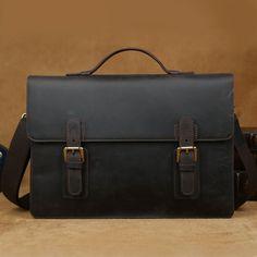"""Men's Vintage Leather Briefcase / Messenger / 13"""" MacBook 13"""" 14"""" Laptop Bag"""