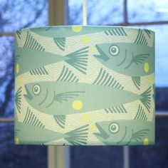 fish blue lampshade, small