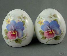 Sandford-UK-Salt-Pepper-Shaker-Set-Egg-Shaped-Pansy-Floral-Decor-Bone-China
