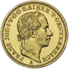 Franz Joseph I. 1848 - 1916 1/2 Vereinskrone 1864 A Gold SEHR SELTEN !!!, Kabinettstück