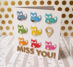 really like this rainbow stamping, simple. Rainbow Fox Greeting Card by paperpilekitten at @Studio_Calico