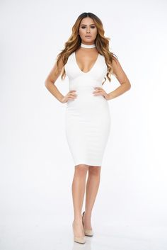 Choker White Midi Bodycon Dress - Chic Soho - 1