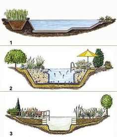Ein Schwimmteich ist die optimale Mischung aus Teich und Swimmingpool: er bietet… A swimming pond is the optimal mixture of pond and swimming pool: it offers clean, soft water without chemicals and recreational fun of the whole … Swimming Pool Pond, Natural Swimming Ponds, Natural Pond, Ideas De Piscina, Landscape Design, Garden Design, Design Jardin, Pool Designs, Water Garden