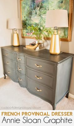 French Provincial Annie Sloan Graphite Dresser love the dresser shape and the combo of graphite and gold - Daily Home Decorations Chalk Paint Furniture, Furniture Projects, Furniture Making, Diy Furniture, Furniture Stores, Annie Sloan Painted Furniture, Homemade Furniture, Furniture Market, Furniture Refinishing
