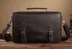ROCKCOW Handmade Mens Real Leather Briefcase Vintage Style messenger Shoulder 14 inch Laptop Bag case handbag tote 8069
