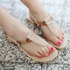 Aliexpress.com : Buy New hot summer sweet casual beaded women's shoes flip flop flat bohemia flat heel sandals from Reliable flat heel sandals suppliers on ENMAYER CO., LIMITED $17.99