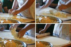 Strudel tradizionale di mele  Per il ripieno: 3 mele possibilmente molto mature zucchero a piacere un cucchiaio di burro una manciata di pan grattato una manciata di uvetta (non ammollata) la buccia di un limone grattugiata un cucchiaino raso di cannella un cucchiaio di rhum  Per l'impasto: un etto di ricotta un etto di farina 80 gr di burro un pizzico di sale  In una padella sciogliere un cucchiaio di burro e unire una manciata di pan grattato. Il pan grattato serve per assorbire l'acqua…