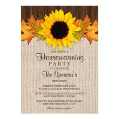 Rustic Fall Sunflower Wedding Invitation Sets With Leaves Incl. Invite RSVP And Reception Invitation Dinner Party Invitations, Wedding Reception Invitations, Couples Shower Invitations, Sunflower Wedding Invitations, Engagement Invitations, Wedding Invitation Sets, Custom Wedding Invitations, Wedding Menu, Rustic Wedding