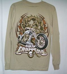 Top Heavy Shirt Size Medium Chopper Graphics Brown Long Sleeve New with Tag $13.50 free shipping