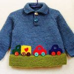 Baby Boy Sweater – 12 to 18 Month Size Wool Pullover With Colorful Cars – stricken einfach kinder Baby Knitting Patterns, Baby Boy Knitting, Knitting For Kids, Baby Patterns, Hand Knitting, Crochet Patterns, Dress Patterns, Baby Boy Sweater, Knit Baby Sweaters