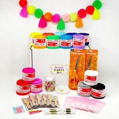 The Neon Tea PARTY Box contains everything you need to plan and host an awesome Pom Pom & Tassel Craft Party for you and your special crew! Each Neon Tea PARTY Box contains enough supplies for up to 5 crafters, a host guide chock full of our expert craft party planning tips, extensive project instructions, and party bags to make taking home projects and supplies a breeze! Need extra supplies?? Find more of nearly everything here in the TNTP Shop! PLUS: Add on a virtual TEAcher to help lead y
