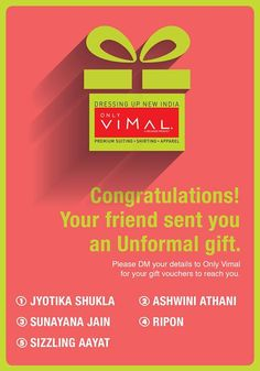 Congratulations to the Unformal Gifting winners. Don't forget to DM us your details.