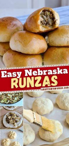 Cabbage And Beef, Cabbage Recipes, Baked Cabbage, Runza Recipe Nebraska, Runzas Recipe, Hamburger Recipes, Ground Beef Recipes, Street Food, Pizza