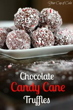 Chocolate Candy Cane Truffles - Your Cup of Cake. These things are NOT RIGHT. My thoughts on altering the recipe: dip the truffle mixture in melted chocolate, then sprinkle the crushed candy cane on the top. Best Christmas Desserts, Christmas Cooking, Holiday Treats, Holiday Recipes, Christmas Chocolate, Christmas Parties, Holiday Foods, Fudge, Candy Recipes