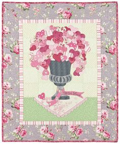 """With Love"", approx 30 x 36"". A bouquet of hearts in a wall hanging by Verna Mosquera at The Vintage Spool"