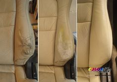 repaired car seat side panel, step by step, by Color Glo