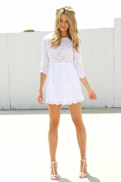 Adorable White Lace Little Dress!!! So cute for summer #summerfashion