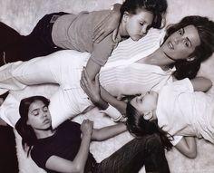 yasmin lebon 1990 editorials | with husband Simon and daughters Amber, Saffron, and Tallulah
