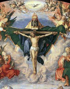 Adoration of the Trinity by Albrecht Dürer. Close up of the Trinity.