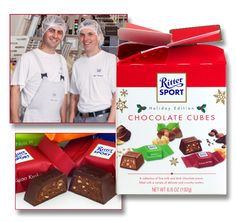 From family business, Ritter Sport in Waldenbuch, Germany - savor this Holiday Edition of assorted cubes; a collection of fine milk and dark chocolates with a variety of delicate and crunchy centers.