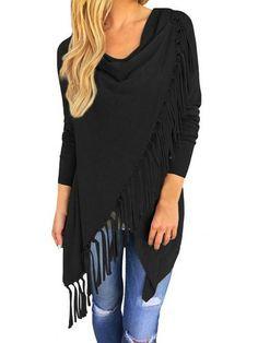 ISASSY Women's Long Sleeve Casual Asymmetric Tassels Batwing Loose tops  Fringe Jumper Cardigan Pullover Sweater Shawl Coat Outwear Cardigan Size  Info: ...