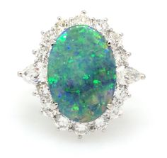 Black Opal w/Orange & Green Flash and Diamond Platinum Ring TW 4.99 ct- HM1579 in Jewelry & Watches, Fine Jewelry, Fine Rings | eBay