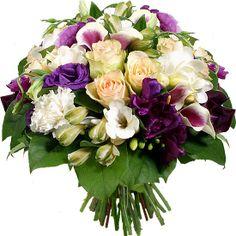 Bouquet de fleurs - Aquarelle.com Un bouquet de fleurs parfumé !  Dégradés de couleurs et textures signent tel un tableau ce ravissant bouquet rond.