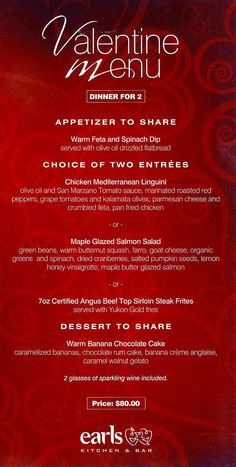 valentine's day menu design ideas