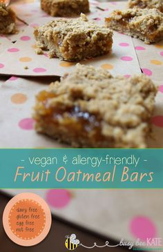 Busy Bee Kate | -vegan & allergy-friendly - Fruit Oatmeal Bars - gluten, egg, nut, dairy free!
