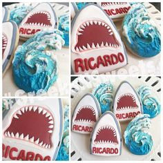 Where we specialize in uniquely designed cookies for Sororities, Fraternities and everything in between! Shark Birthday Cakes, Birthday Cookies, Cupcakes, Cupcake Cookies, Shark Cookies, Cookie Designs, Cookie Ideas, Summer Cookies, Cookie Time